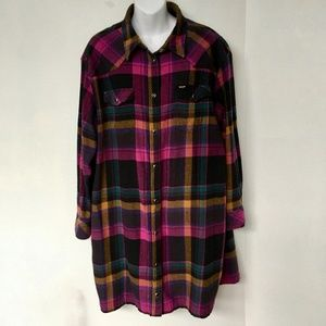 Wrangler Shirt Dress Flannel 100% Cotton Pearl Snaps Pink Plaid